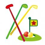 ニュースポーツに家族で挑戦しよう!「スリースマイルゴルフ」はプラスチックのクラブで行うので安全です!☆要申込、参加無料