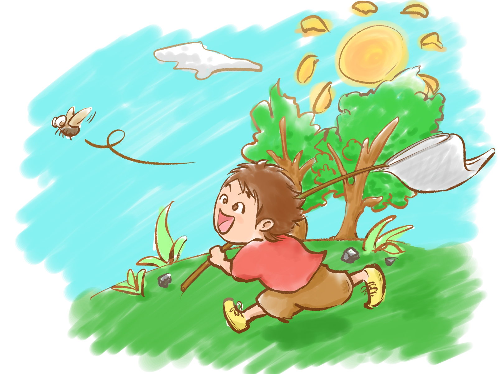 夏 昆虫採集 虫捕り 子ども