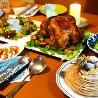 素材 クリスマス ごちそう ローストチキン パーティー