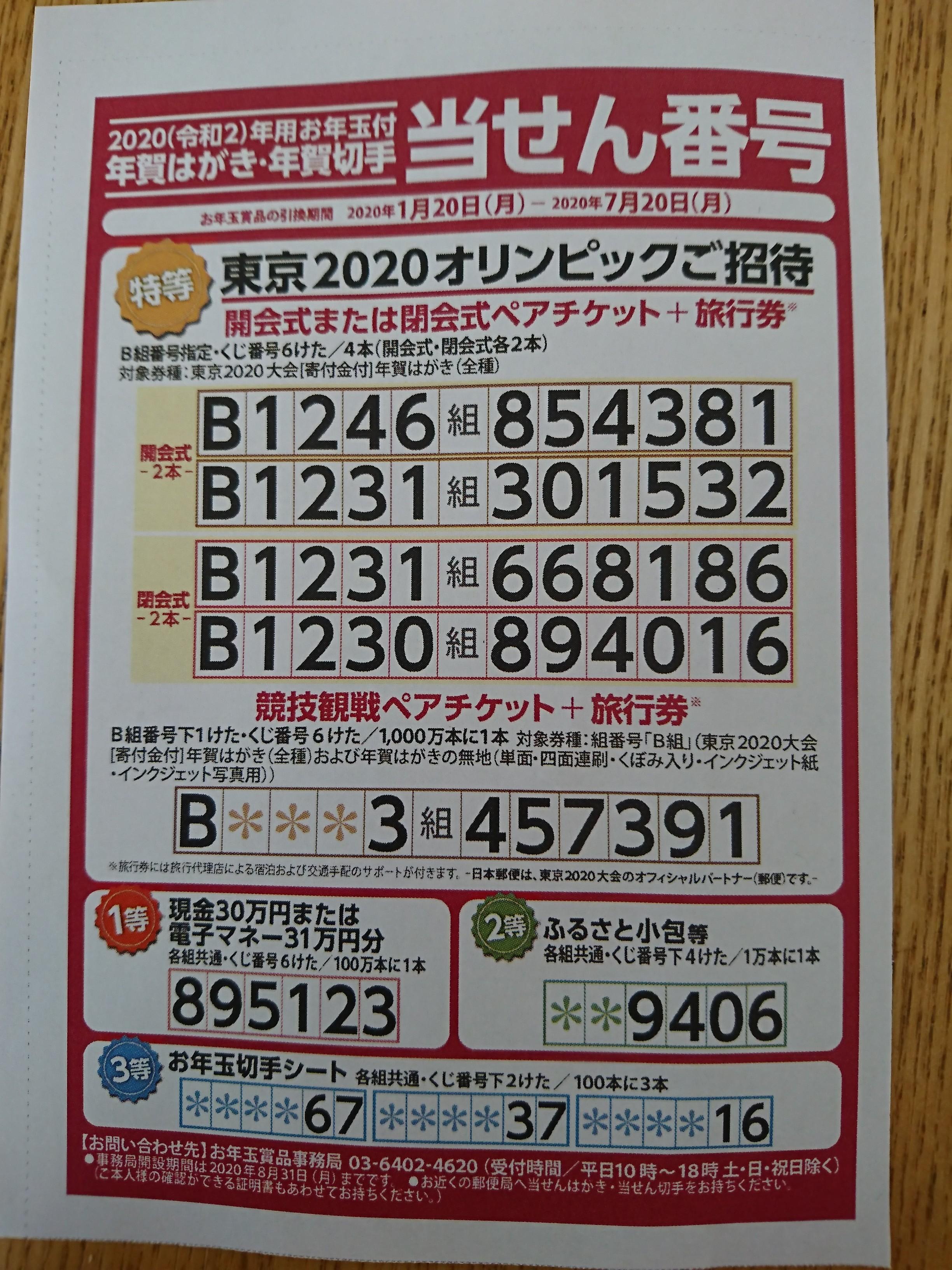 年賀 当選 はがき 番号 2020 年