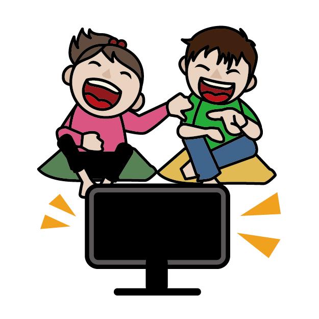 素材 テレビ 家 子ども 笑う