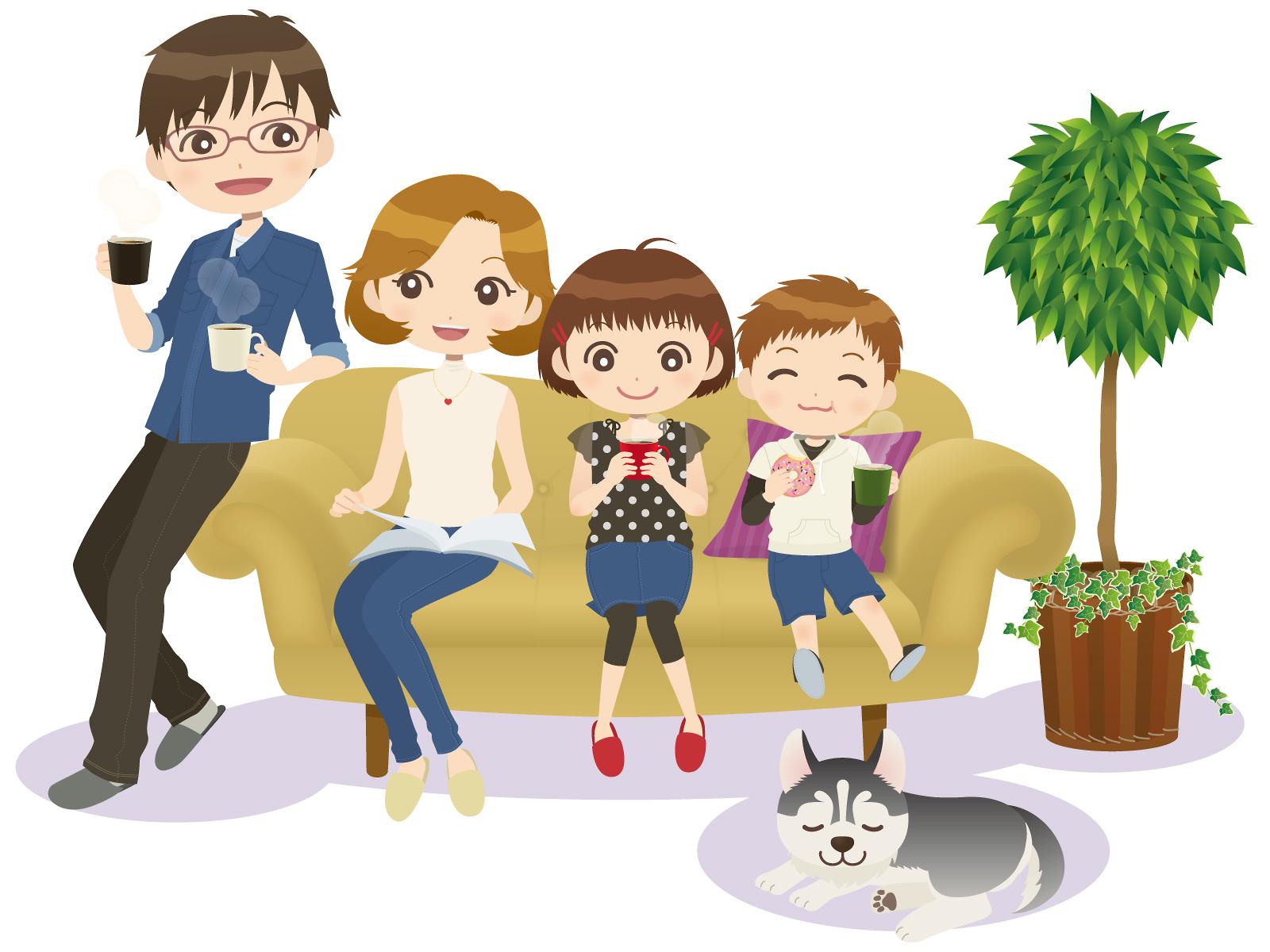 素材 お茶 おやつ 家族 テレビ