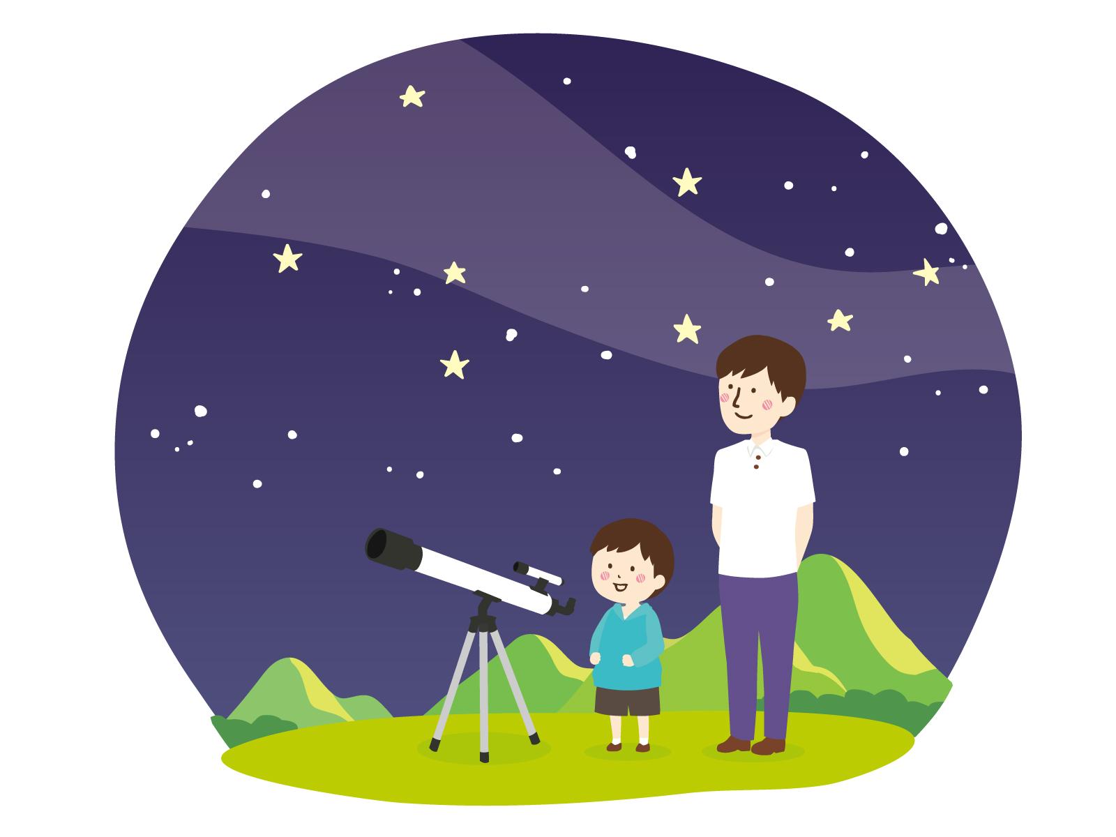 素材 天体観測 星 夜 親子 キャンプ