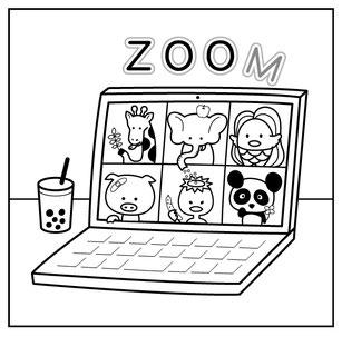 zoom動物園イラスト塗り絵無料ダウンロードアマビエキリンゾウブタカッパ